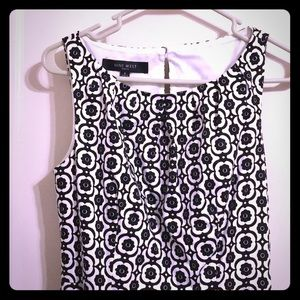 Nine west black and white pattern sleeveless dress